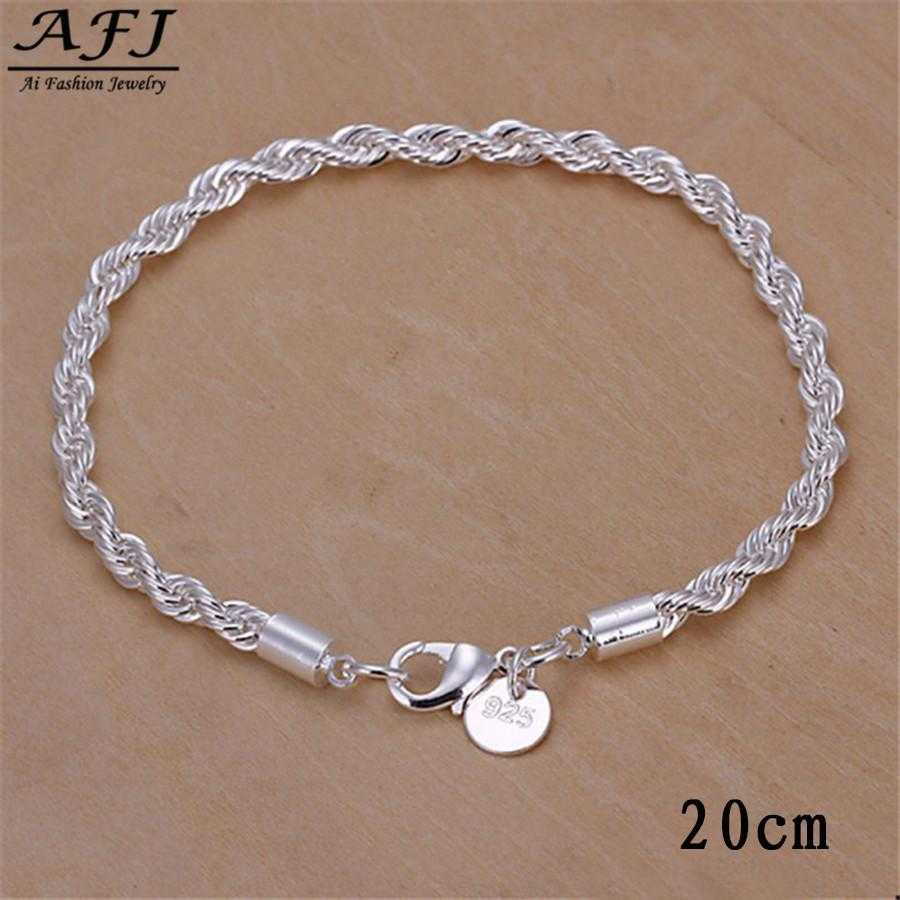 Free Sterling Silver Twisted Chain Bracelet-Bracelet-Kirijewels.com-sliver 6-Kirijewels.com