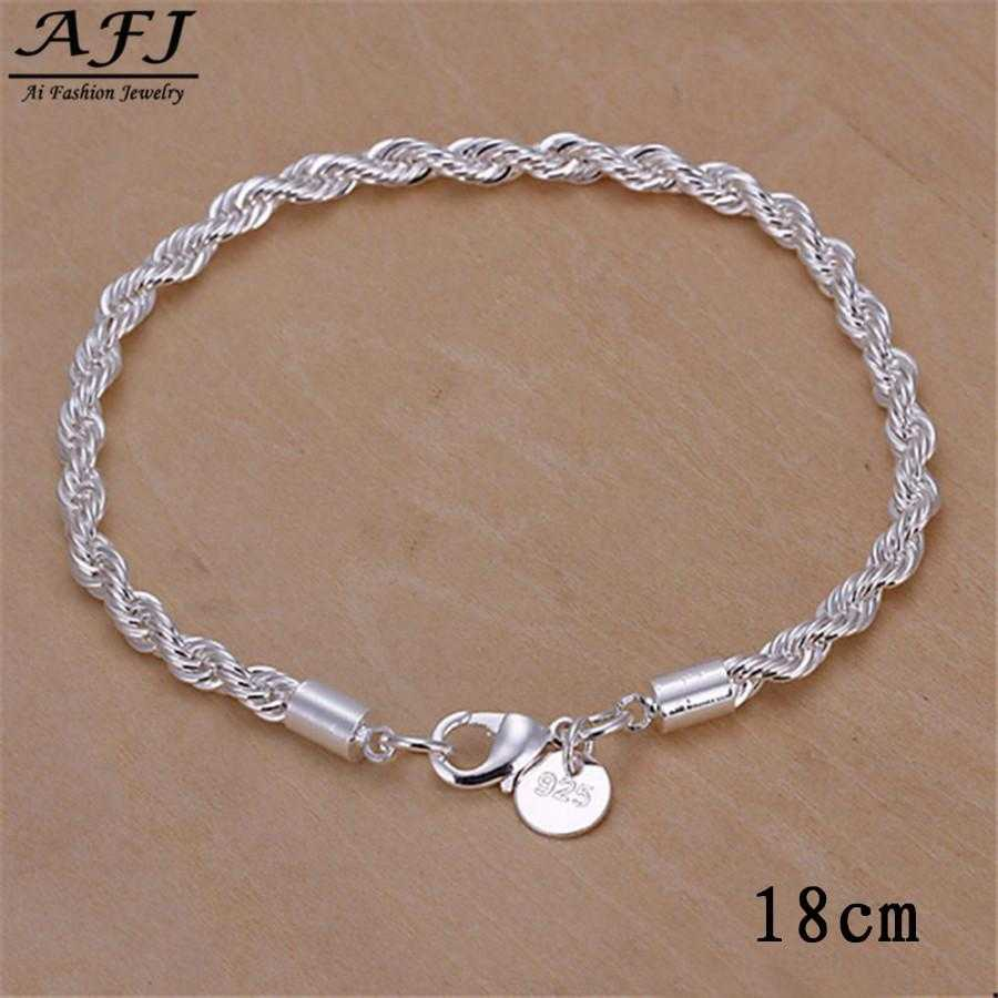 Free Sterling Silver Twisted Chain Bracelet-Bracelet-Kirijewels.com-sliver 4-Kirijewels.com