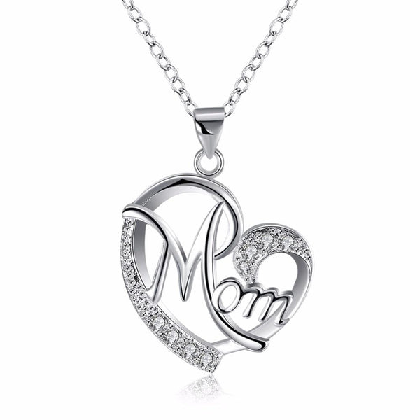 Crystal Silver Plated Heart Mother Necklace
