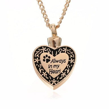 Always In My Heart Dog Cat Paw Cremation Urn Necklace - Kirijewels.com