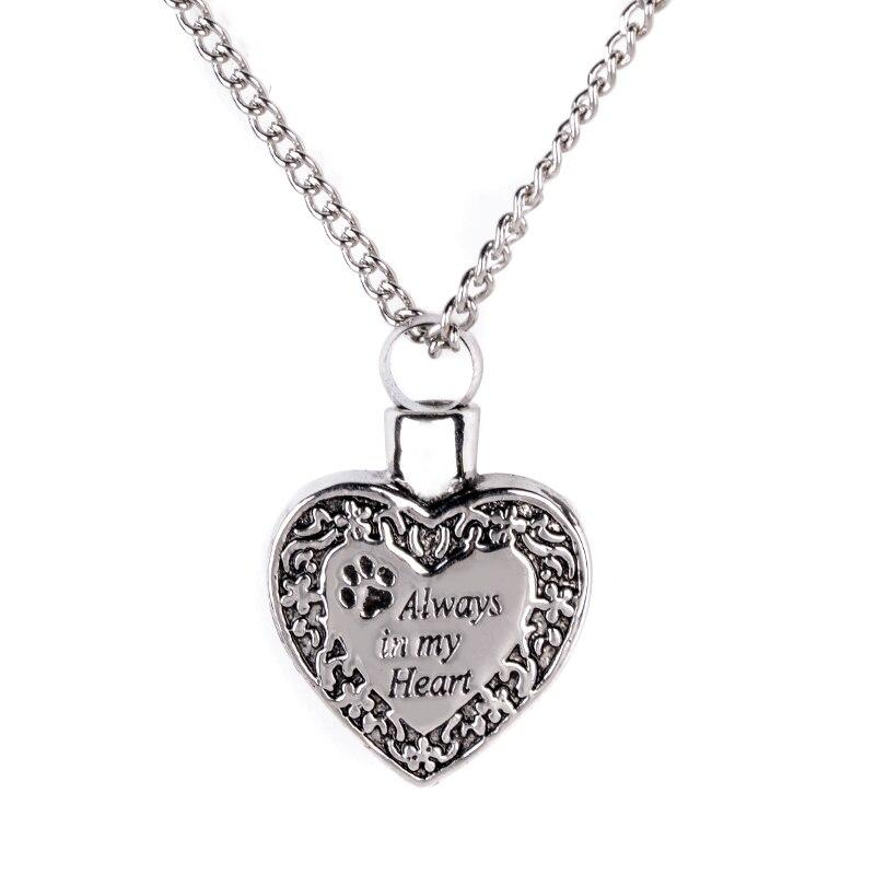 Always In My Heart Dog Cat Paw Cremation Urn Necklace
