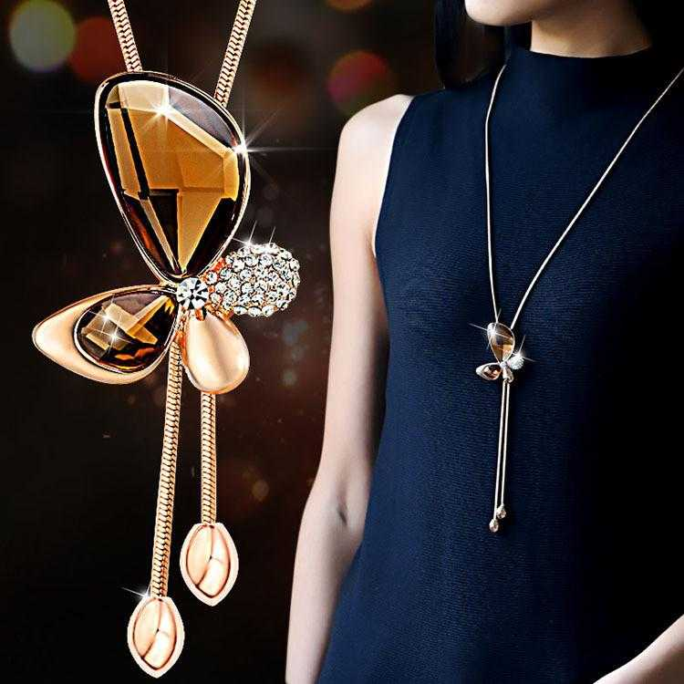 Free Fine Trendy Butterfly Long Necklace-Pendant Necklaces-Kirijewels.com-Brown-Kirijewels.com