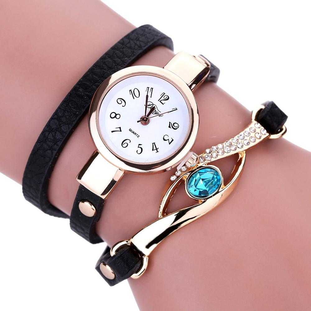 Ladies' Eye Gemstone Luxury Watch-Women's Watches-Kirijewels.com-Black Watch-Kirijewels.com