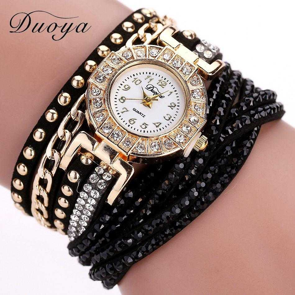Free Duoya Crystal Rhinestone Wristwatch-Women's Watches-Kirijewels.com-Black-Kirijewels.com