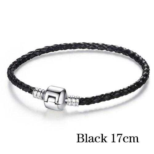 Free Silver Plated Genuine Leather Bracelet-Bracelet-Kirijewels.com-17cm black-Kirijewels.com