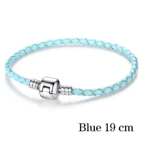 Free Silver Plated Genuine Leather Bracelet-Bracelet-Kirijewels.com-19cm blue-Kirijewels.com