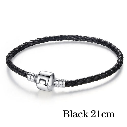 Free Silver Plated Genuine Leather Bracelet-Bracelet-Kirijewels.com-21cm black-Kirijewels.com
