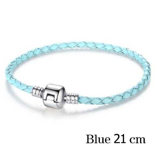 Free Silver Plated Genuine Leather Bracelet-Bracelet-Kirijewels.com-21 cm blue-Kirijewels.com