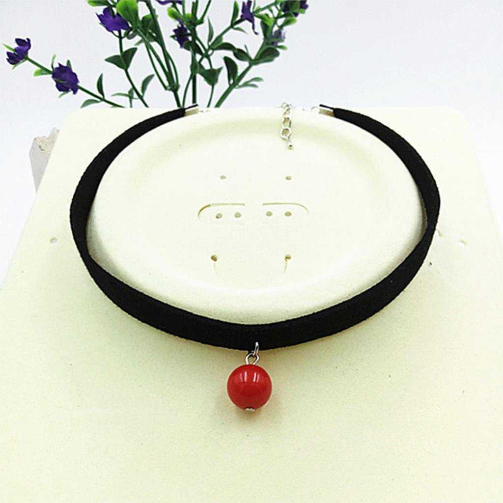 Black Rope Ball Choker Necklace-Choker Necklaces-Kirijewels.com-Red-Kirijewels.com