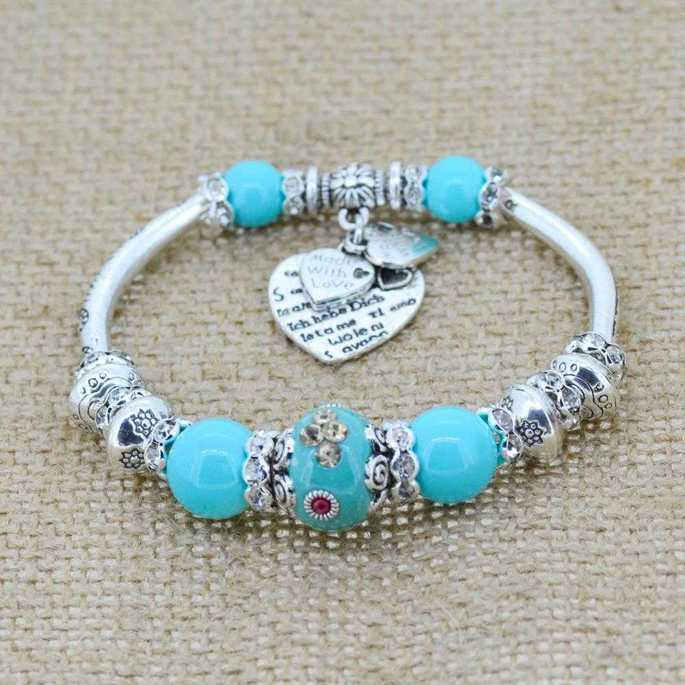 Love Heart Charm Bracelet-Bracelet-Kirijewels.com-Light Blue-Kirijewels.com