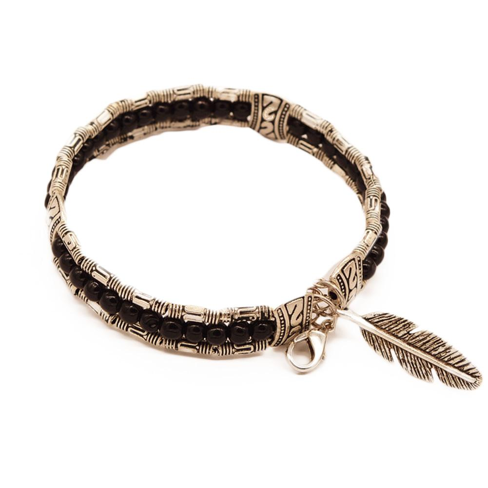 Silver Plated Bead Feather Bracelet-Charm Bracelets-Kirijewels.com-black-Kirijewels.com