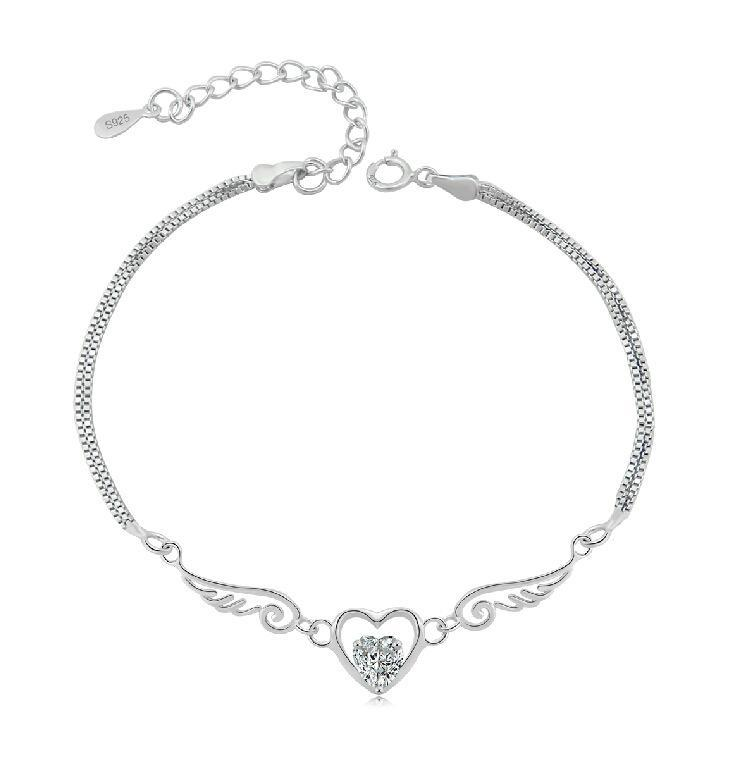Pure Sterling Silver Double Angel Wings Heart Charm Bracelet-Charm Bracelets-Kirijewels.com-white-Kirijewels.com