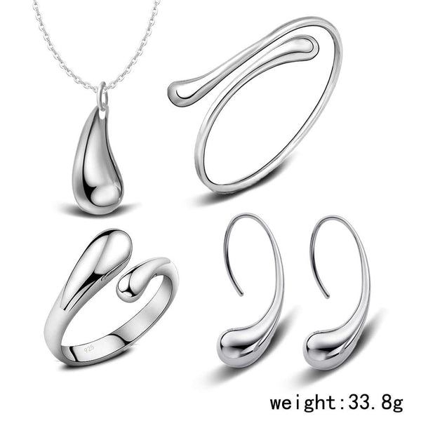 Water Drop Sterling Silver Jewelry Set - Kirijewels.com