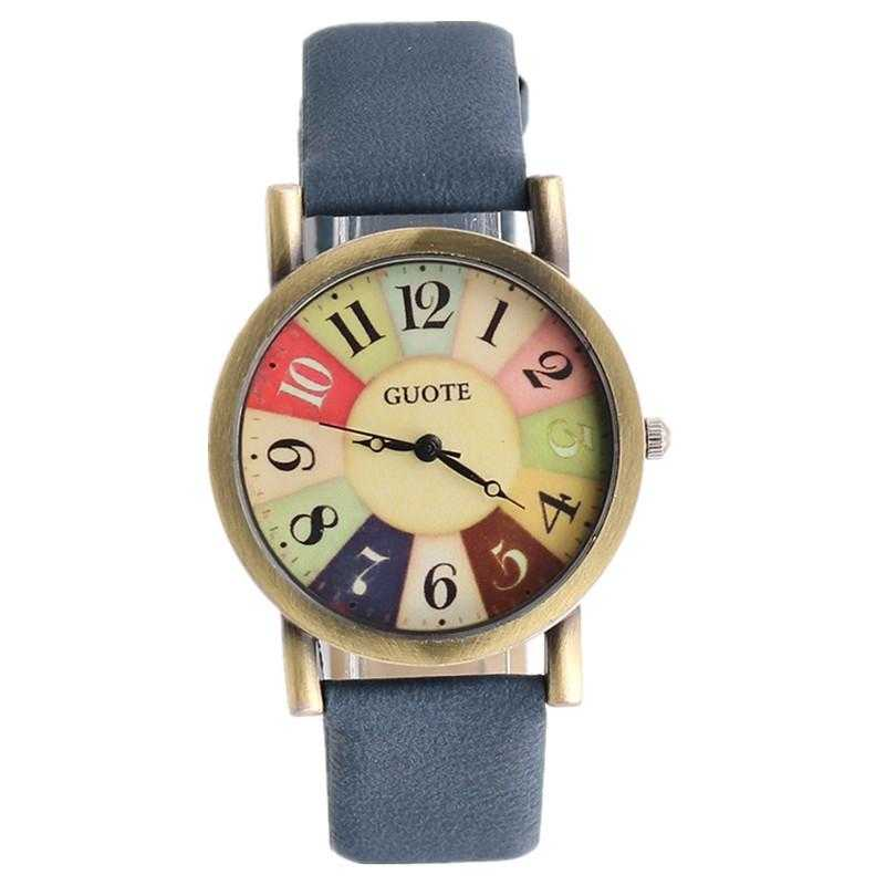 Elegant Leather Strap Rainbow Watch-Women's Watches-Kirijewels.com-Blue-Kirijewels.com