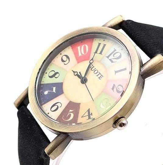 Elegant Leather Strap Rainbow Watch-Women's Watches-Kirijewels.com-Black-Kirijewels.com