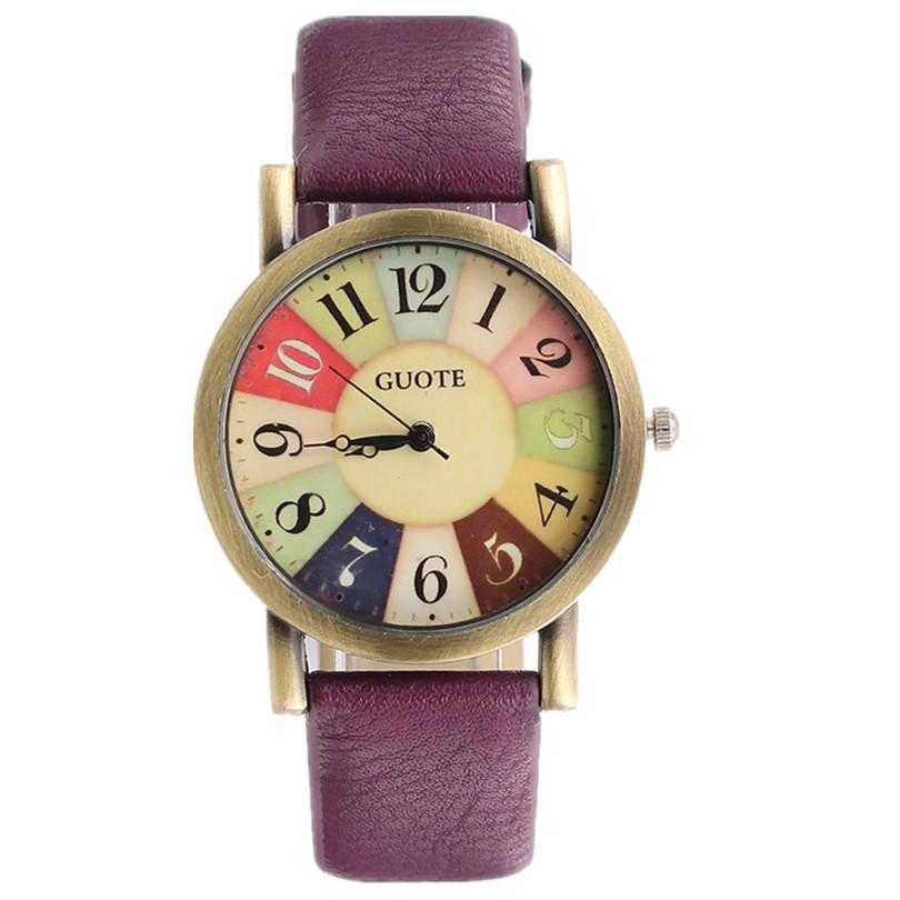 Elegant Leather Strap Rainbow Watch-Women's Watches-Kirijewels.com-Purple-Kirijewels.com