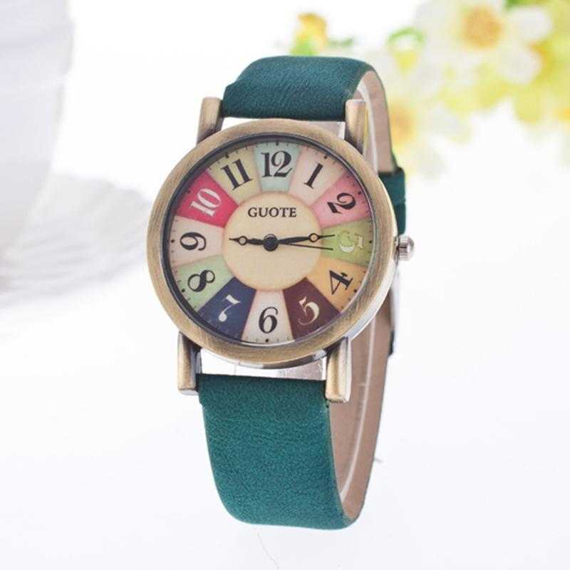 Elegant Leather Strap Rainbow Watch-Women's Watches-Kirijewels.com-Green-Kirijewels.com
