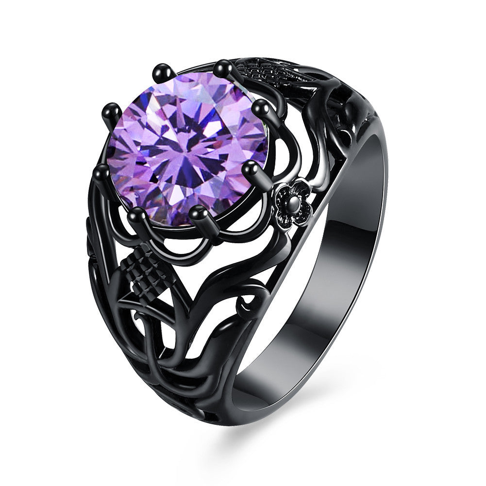 Luxury Vintage Black Zirconia Ring-Rings-Kirijewels.com-6-Purple-Kirijewels.com