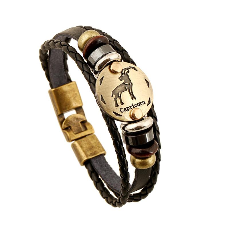 Multi Layer Zodiac Leather Bracelet-Charm Bracelets-Kirijewels.com-Capricorn-Kirijewels.com