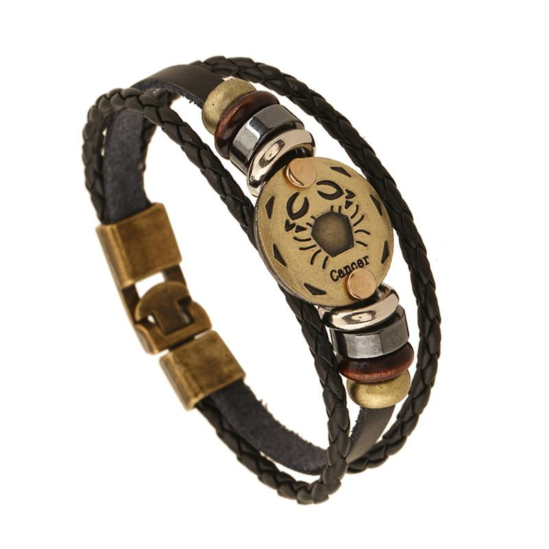 Multi Layer Zodiac Leather Bracelet-Charm Bracelets-Kirijewels.com-Cancer-Kirijewels.com