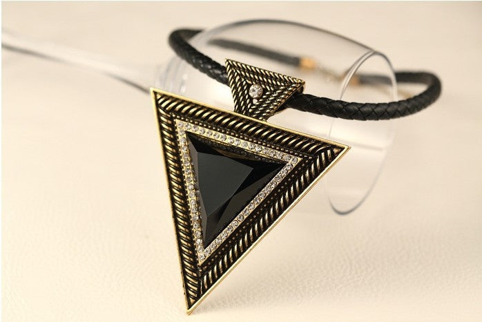 Triangle Rope Chain Necklace-Pingente Colares-Kirijewels.com-Brown-Kirijewels.com
