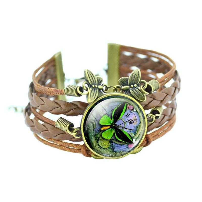 Bronze Leather Butterfly Bracelet-Charm Bracelets-Kirijewels.com-Black & Green-Kirijewels.com