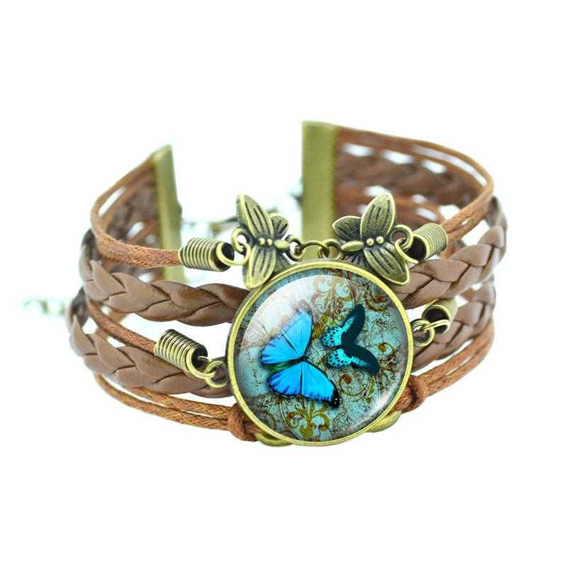 Bronze Leather Butterfly Bracelet-Charm Bracelets-Kirijewels.com-Double Blue-Kirijewels.com