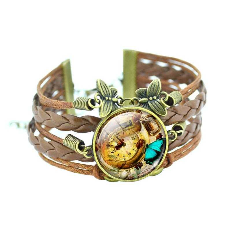Bronze Leather Butterfly Bracelet-Charm Bracelets-Kirijewels.com-Brown2-Kirijewels.com