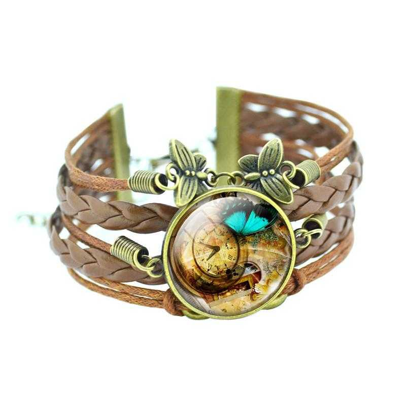 Bronze Leather Butterfly Bracelet-Charm Bracelets-Kirijewels.com-Brown-Kirijewels.com