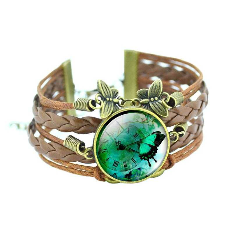 Bronze Leather Butterfly Bracelet-Charm Bracelets-Kirijewels.com-Green-Kirijewels.com