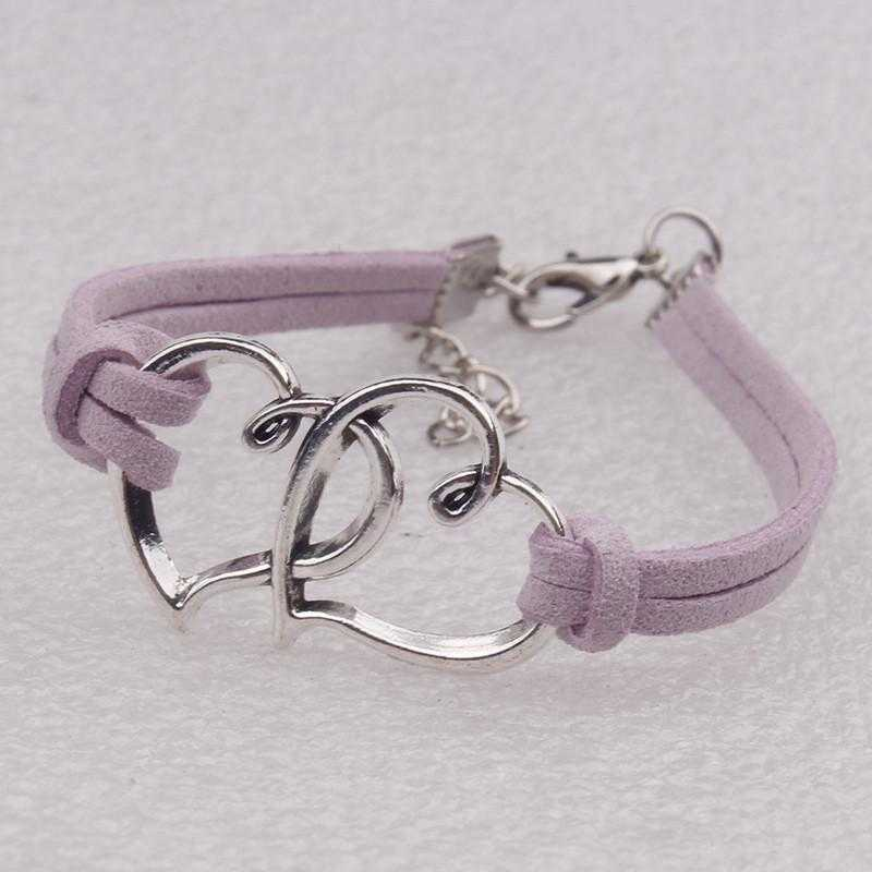 Two Hearts Elastic Handmade Bracelet-Bracelet-Kirijewels.com-Light Purple-Kirijewels.com