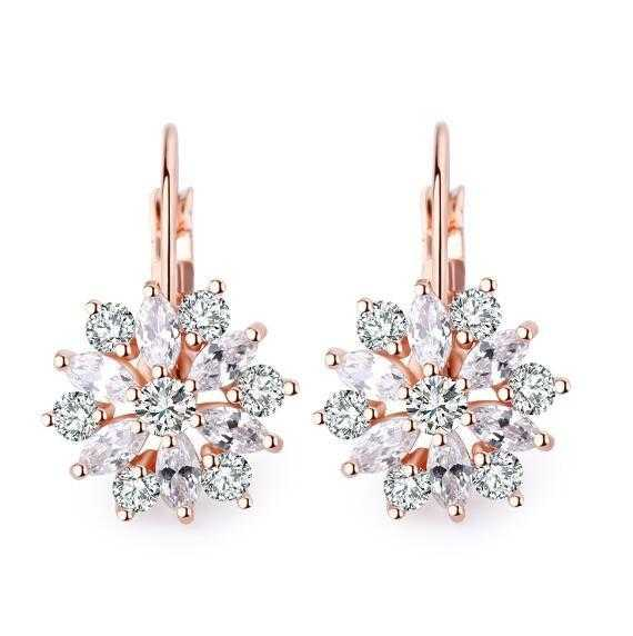 Free Romantic Flower Design Cubic Zirconia Earrings-Hoop Earrings-Kirijewels.com-Rose Gold Plated-Kirijewels.com