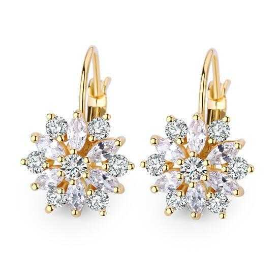 Romantic Flower Design Cubic Zirconia Earrings-Hoop Earrings-Kirijewels.com-18K Gold Plated-Kirijewels.com