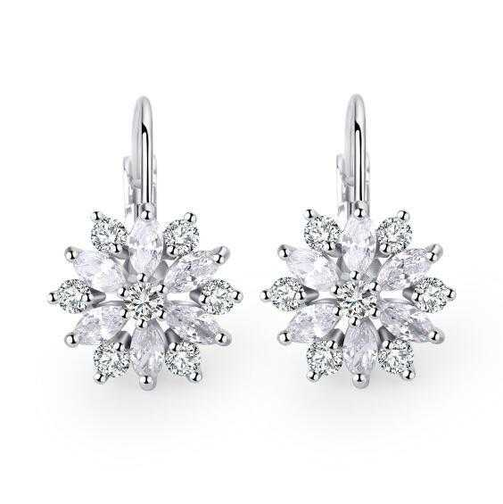 Romantic Flower Design Cubic Zirconia Earrings-Hoop Earrings-Kirijewels.com-Platinum Plated-Kirijewels.com