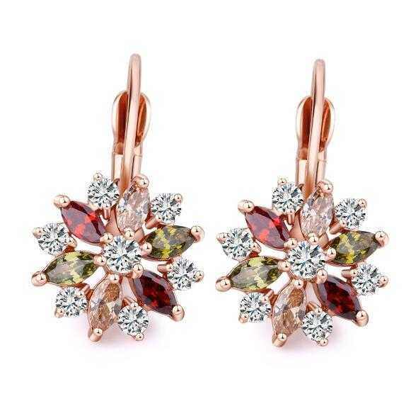 Romantic Flower Design Cubic Zirconia Earrings-Hoop Earrings-Kirijewels.com-Rose multicolor-Kirijewels.com