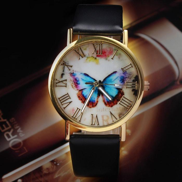 FREE Butterfly Clasp Leather Watch Band-Watch-Kirijewels.com-Black-Kirijewels.com