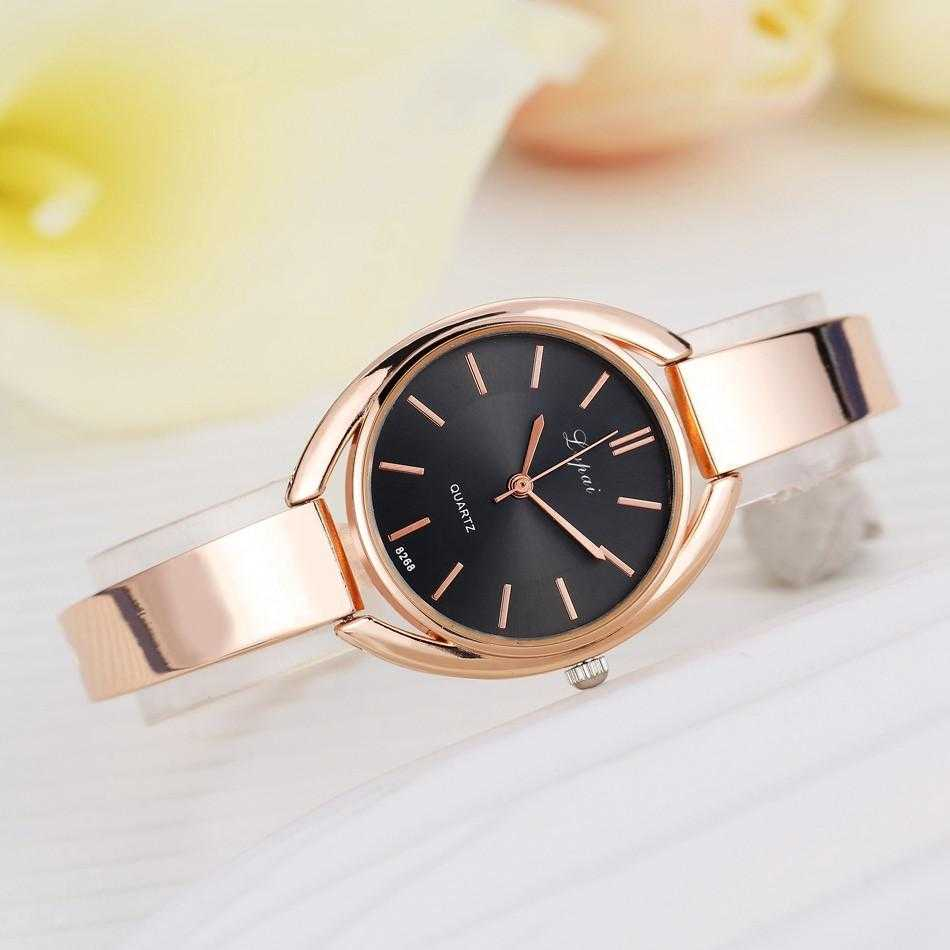 Lvpai Stainless Steel Crystal Round Wristwatch-Women's Watches-Kirijewels.com-Rose Gold Black 2-Kirijewels.com