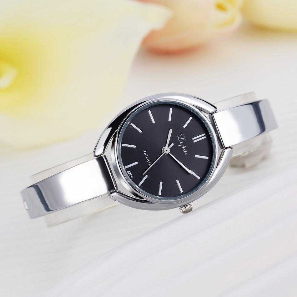 Lvpai Stainless Steel Crystal Round Wristwatch-Women's Watches-Kirijewels.com-Silver Black 2-Kirijewels.com