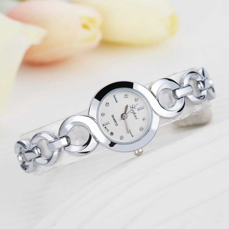 Lvpai Stainless Steel Crystal Round Wristwatch-Women's Watches-Kirijewels.com-Silver White 4-Kirijewels.com