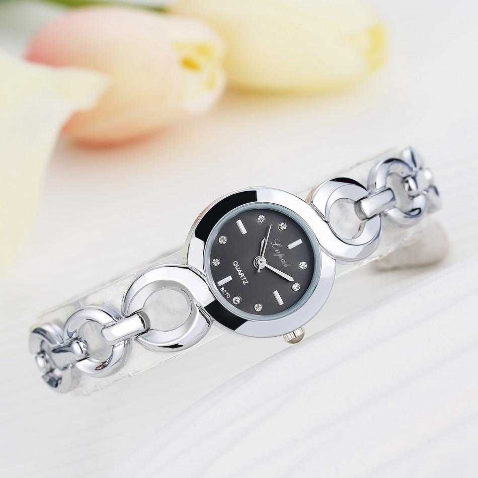 Lvpai Stainless Steel Crystal Round Wristwatch-Women's Watches-Kirijewels.com-Silver Black 4-Kirijewels.com