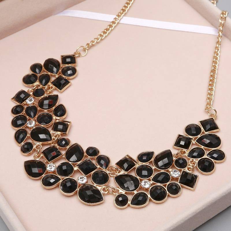 Luxury Gold Chain Stone Necklace-Choker Necklaces-Kirijewels.com-pink XL1067-Kirijewels.com