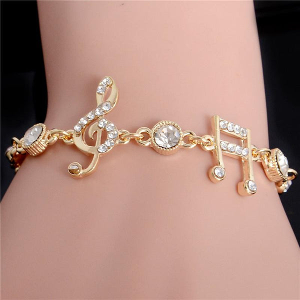 MISANA Luxury Musical Notes Crystal Bracelet-Chain & Link Bracelets-Kirijewels.com-gold-Kirijewels.com