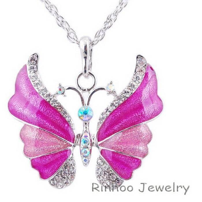 Free Antique Silver plated Enamel Butterfly Pendant Necklace-Pendant Necklaces-Kirijewels.com-pink-Kirijewels.com