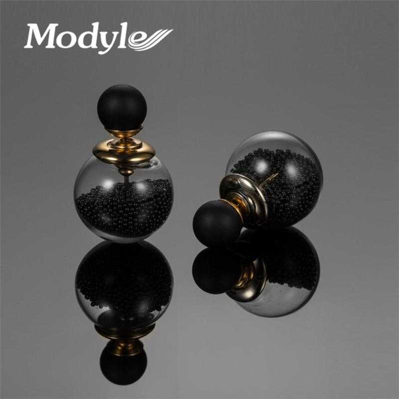 Double Ball Simulated Pearl Earrings-Stud Earrings-Kirijewels.com-Black-Kirijewels.com