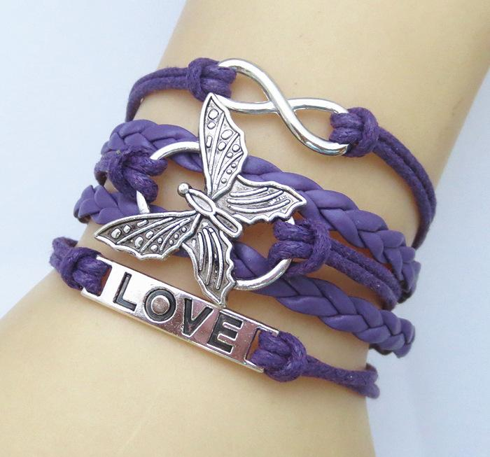 Leather Vivid Butterfly Bracelet-Charm Bracelets-Kirijewels.com-purple-Kirijewels.com