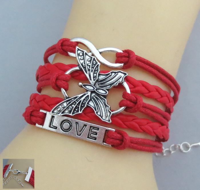 Leather Vivid Butterfly Bracelet-Charm Bracelets-Kirijewels.com-red-Kirijewels.com