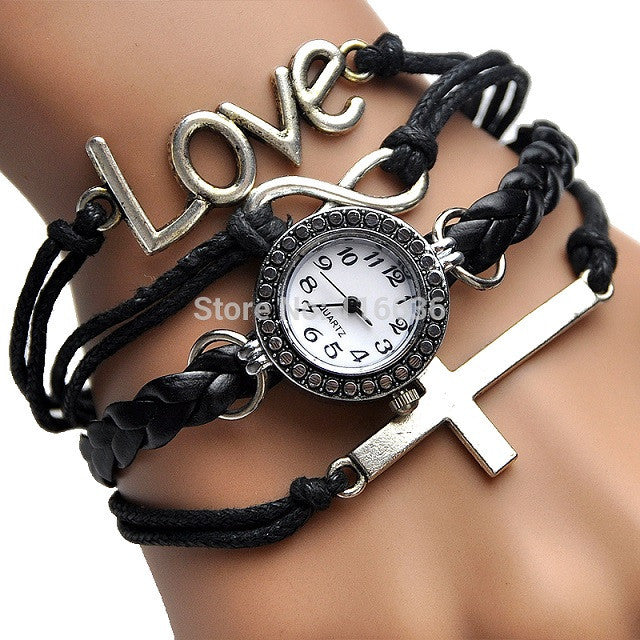Music Bracelet Angel Wing Watch-Women's Watches-Kirijewels.com-Black-Kirijewels.com