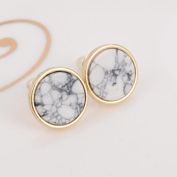 Marbled White Faux Stone Stud Earrings