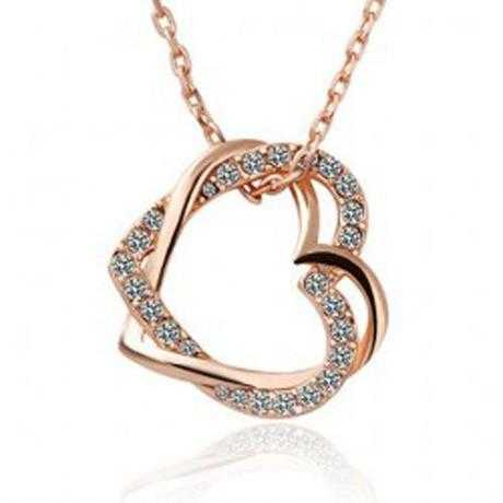 Free Austrian Crystal Double Heart Necklace-Necklace-Kirijewels.com-White-Kirijewels.com
