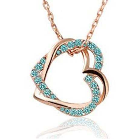 Free Austrian Crystal Double Heart Necklace-Necklace-Kirijewels.com-Ocean Blue-Kirijewels.com